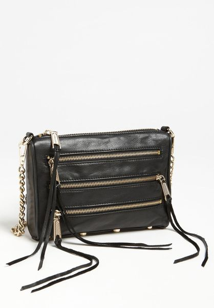 Rebecca Minkoff 5 Zip Mini Crossbody Bag in Brown (black) - Lyst