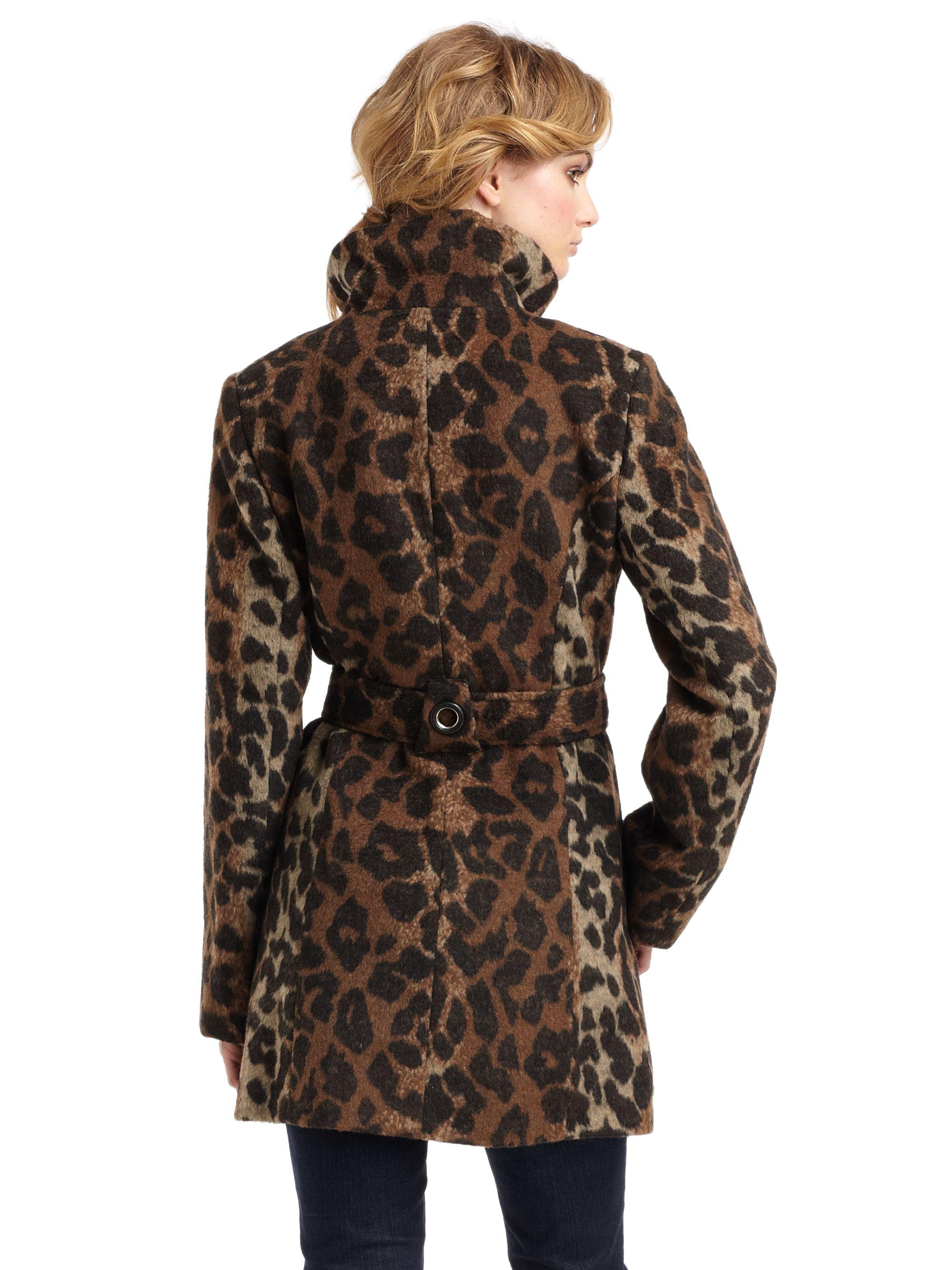 Lyst Via Spiga Leopard Funnelneck Coat
