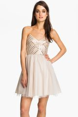 Aidan Mattox Sequin Tulle Dress - Lyst