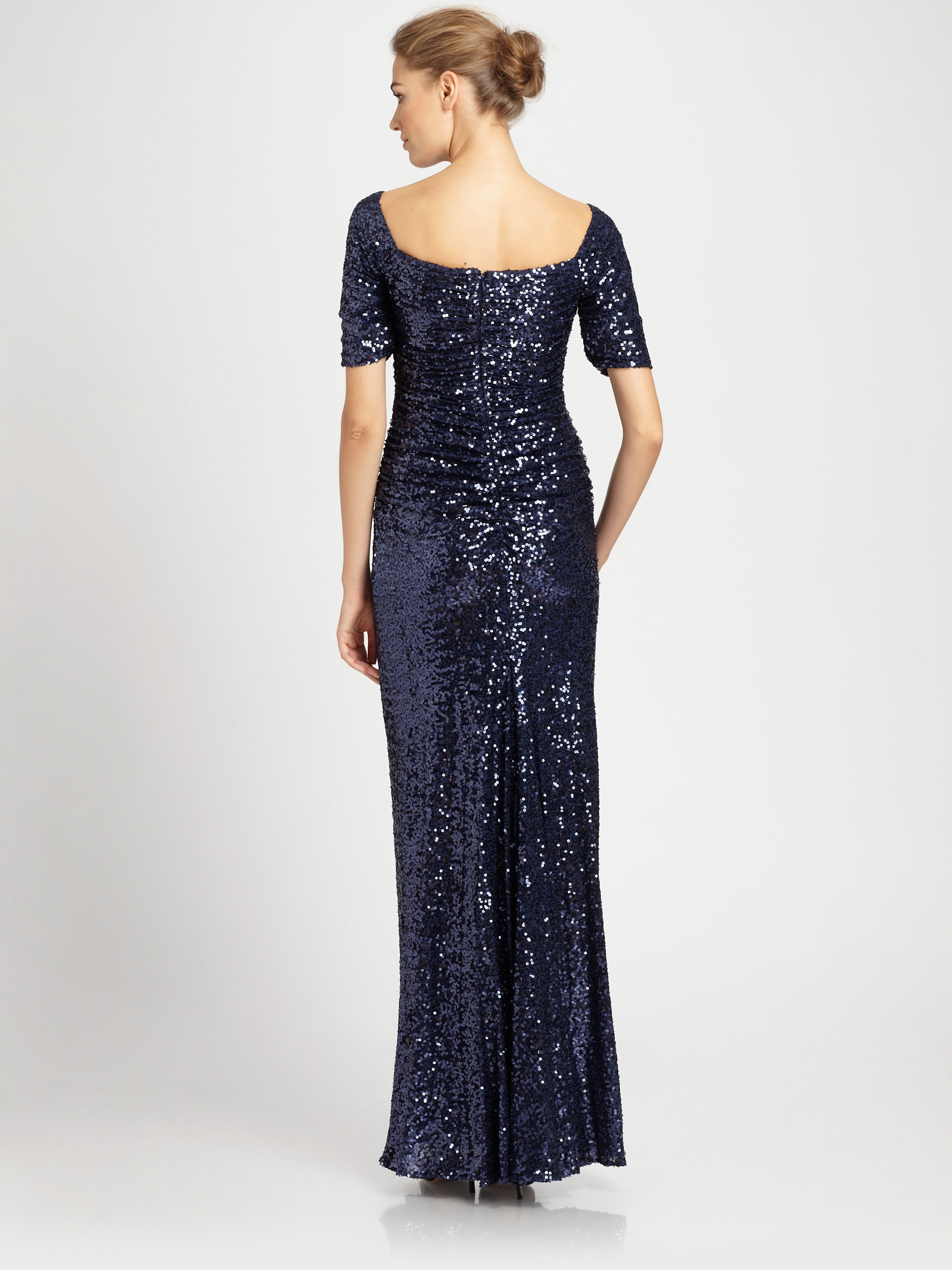 Badgley mischka sequined gown in blue navy lyst for Badgley mischka store nyc