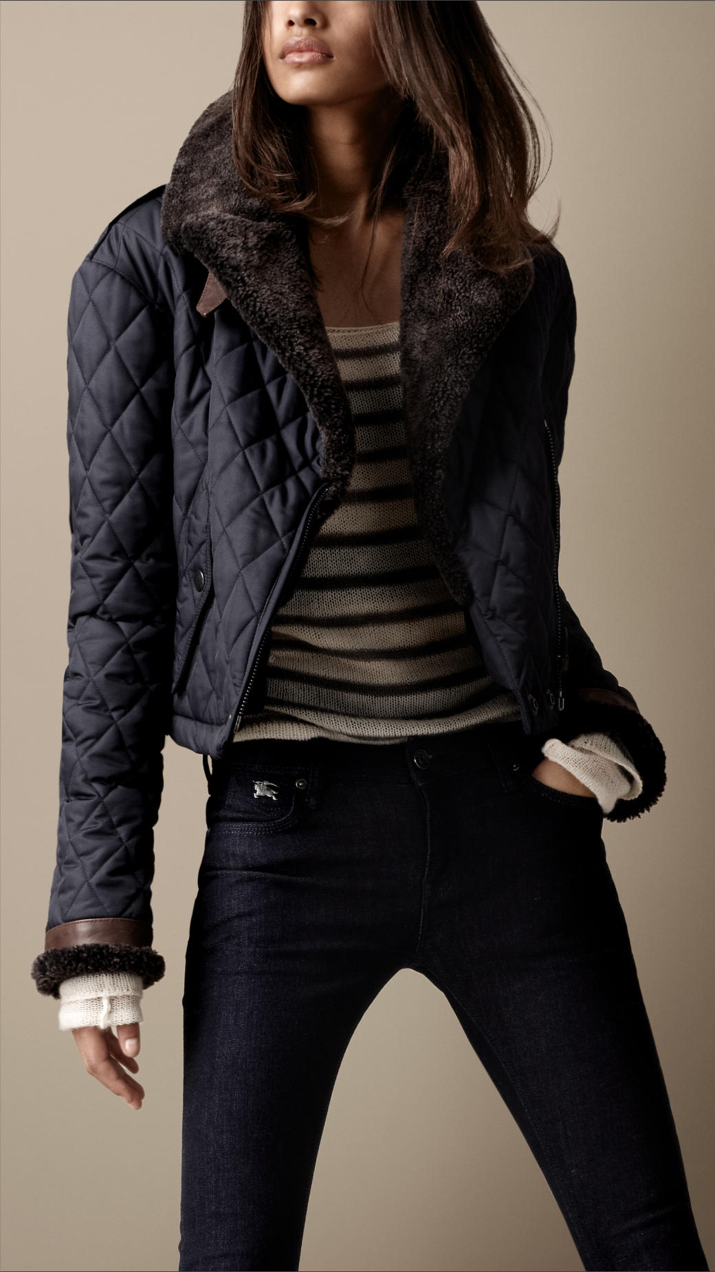 Gallery. Women's Quilted Jackets - Burberry Brit Shearling Quilted Bomber Jacket In Blue Lyst