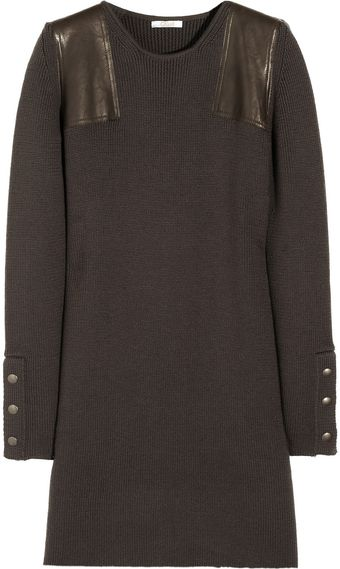 Chloé Leatherpaneled Knitted Wool Dress - Lyst