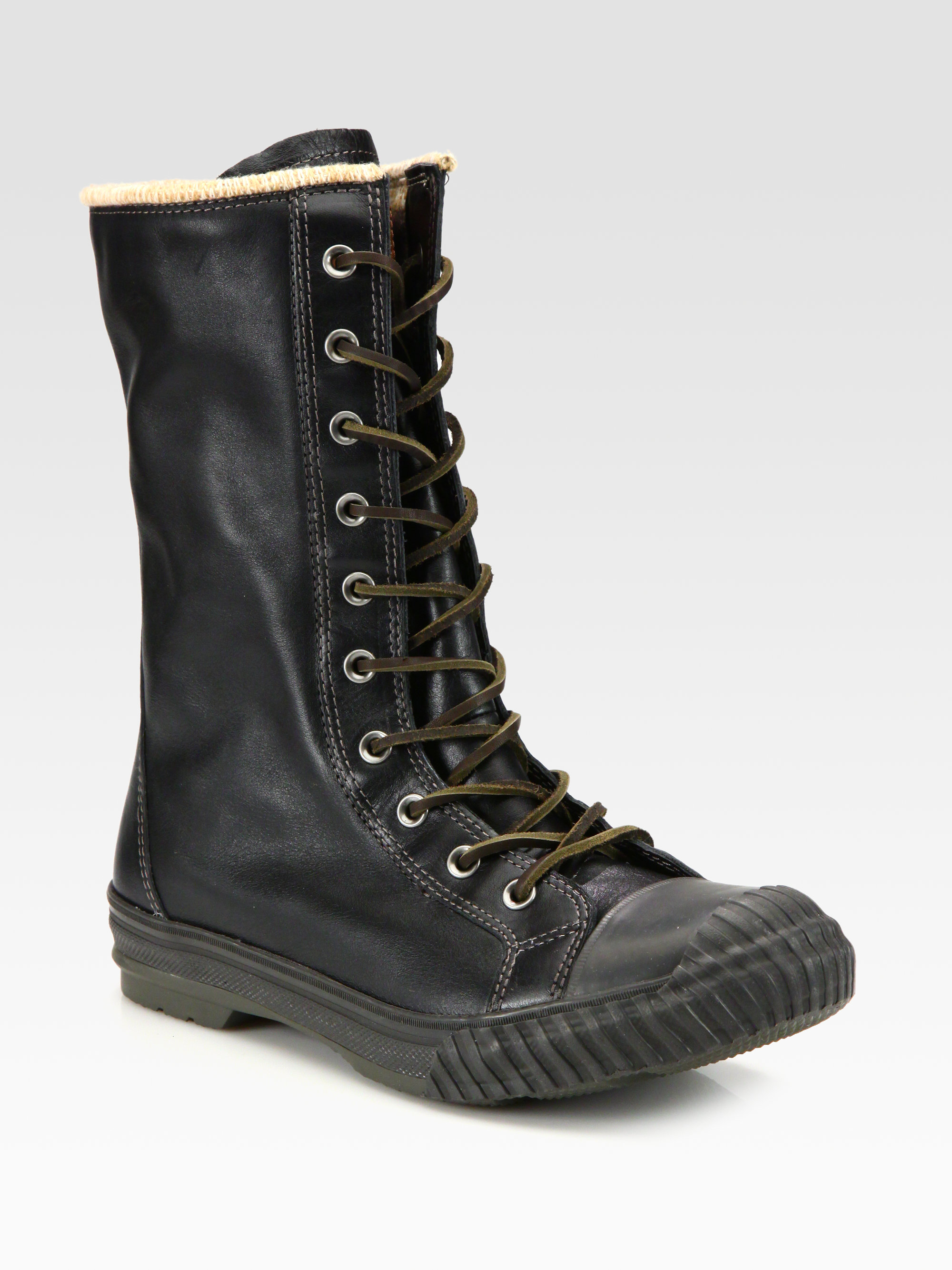 tall black converse boots