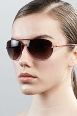 Diane Von Furstenberg Hilary Aviator Sunglasses Red - Lyst