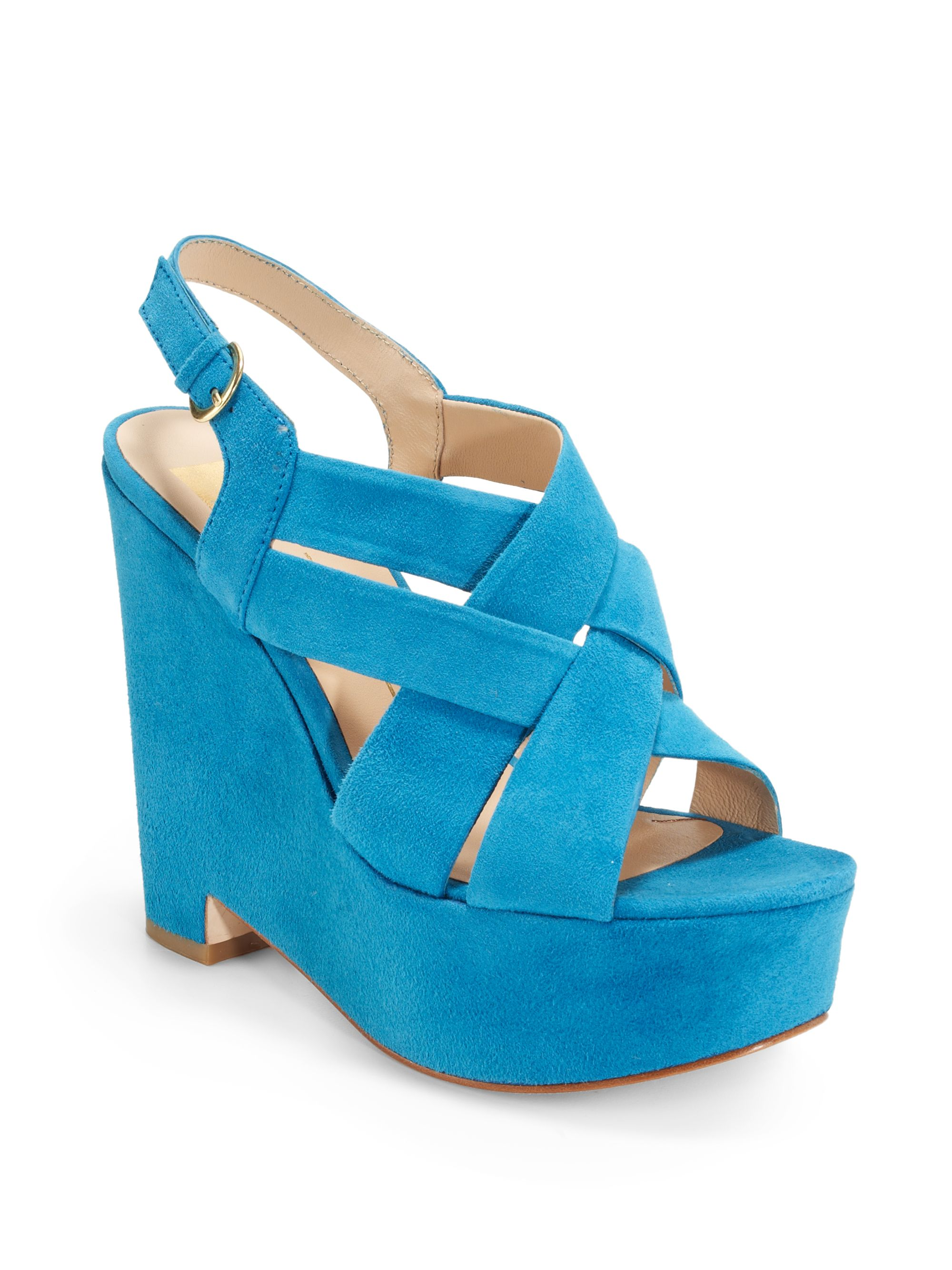 Dolce Vita Garren Strappy Suede Wedge Sandals In Blue Lyst