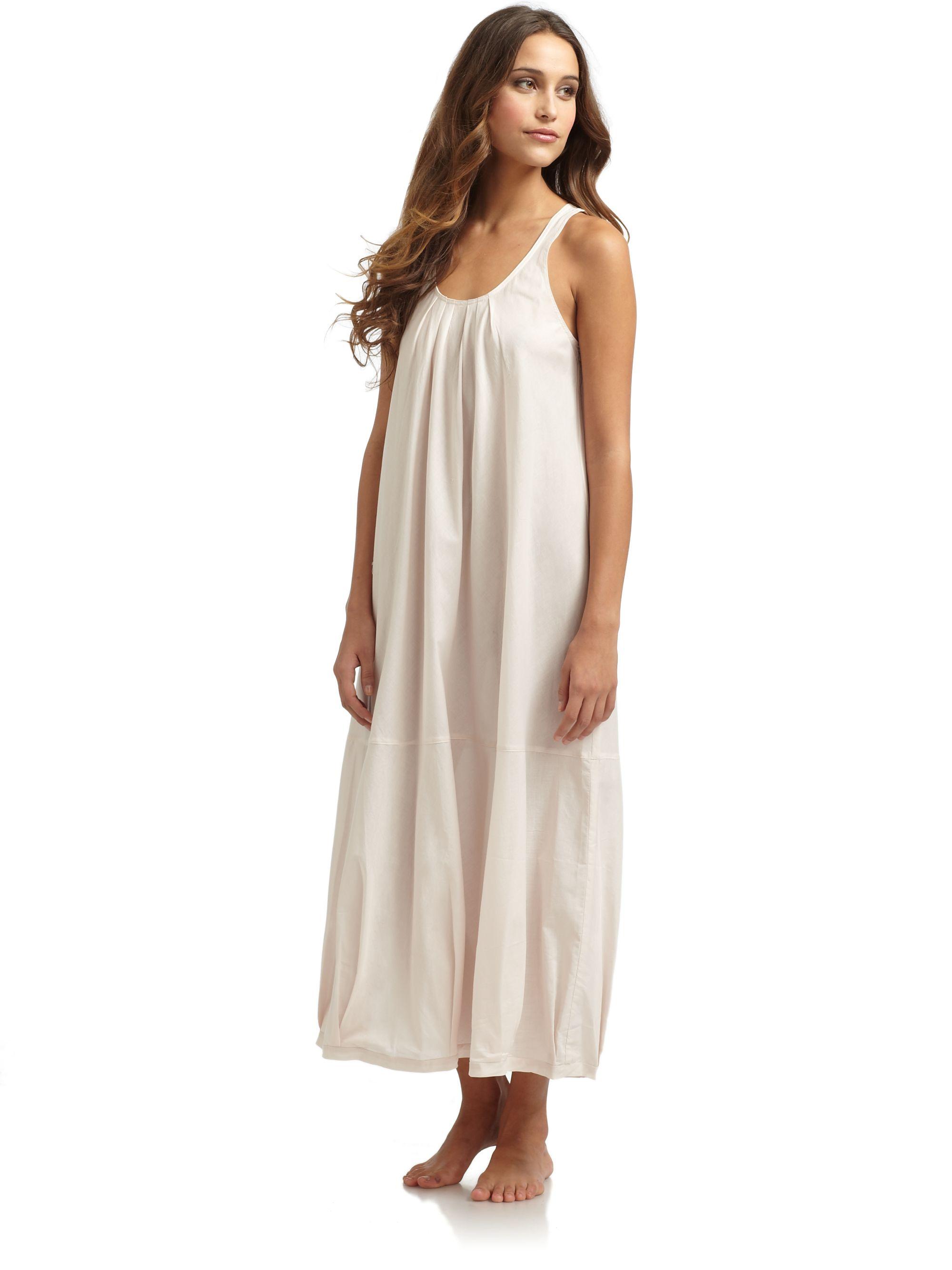 donna karan new york cotton batist long sleeveless nightgown in pink