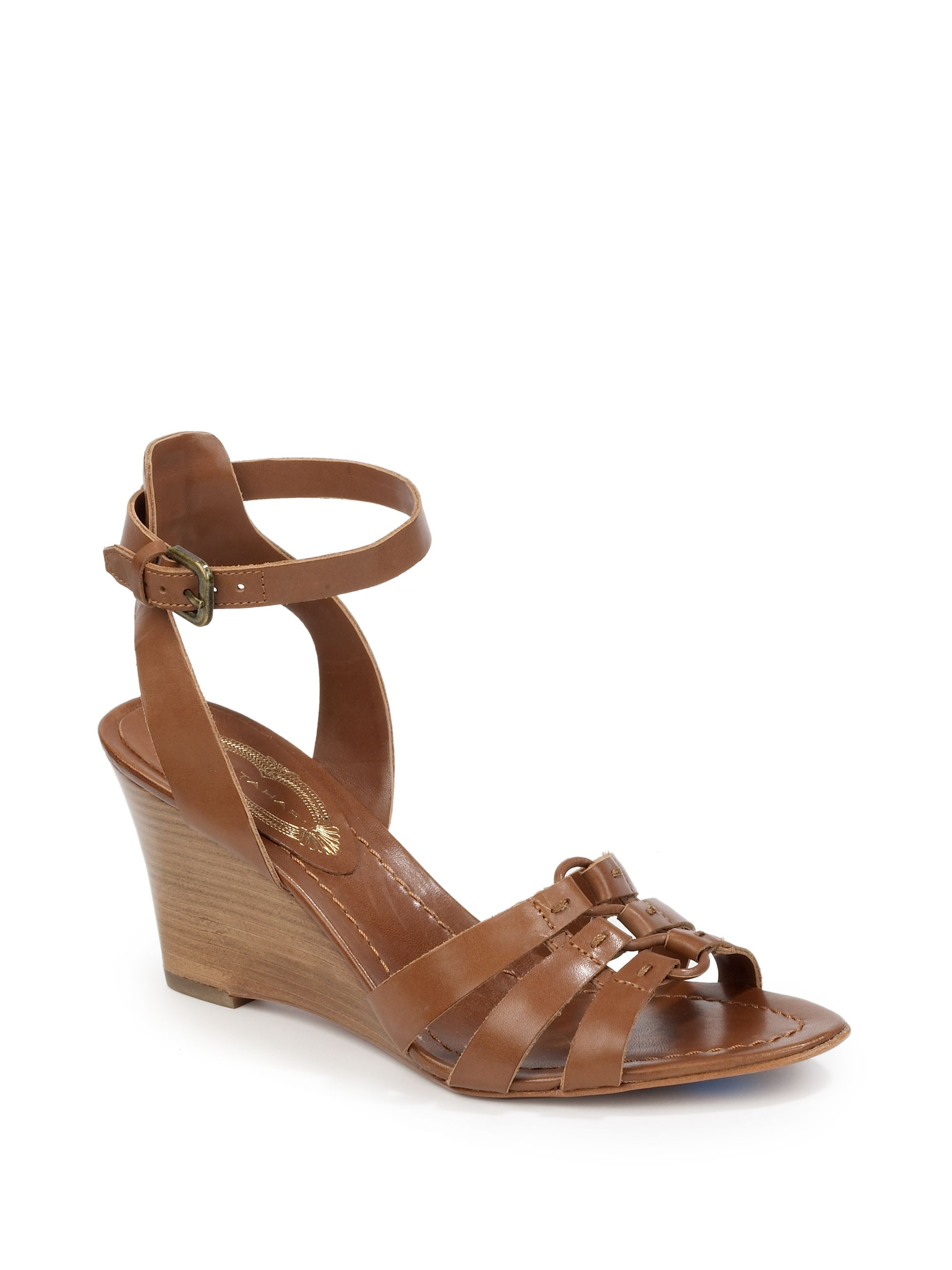 elie tahari wedge sandals in brown nutmeg lyst