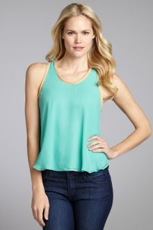 Elizabeth And James Mint and Nude Silk Suede Trimmed Sleeveless Blouse - Lyst