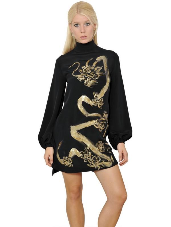 Lyst Emilio Pucci Hand Painted Dragon Silk Cady Dress In