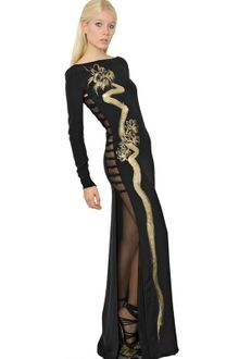Emilio Pucci Hand Painted Dragon Silk Cady Long Dress - Lyst