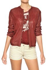 Etoile Isabel Marant Perforated Washed Nappa Leather Jacket - Lyst