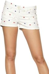 Etoile Isabel Marant Embroidered Stars Cotton Denim Shorts - Lyst