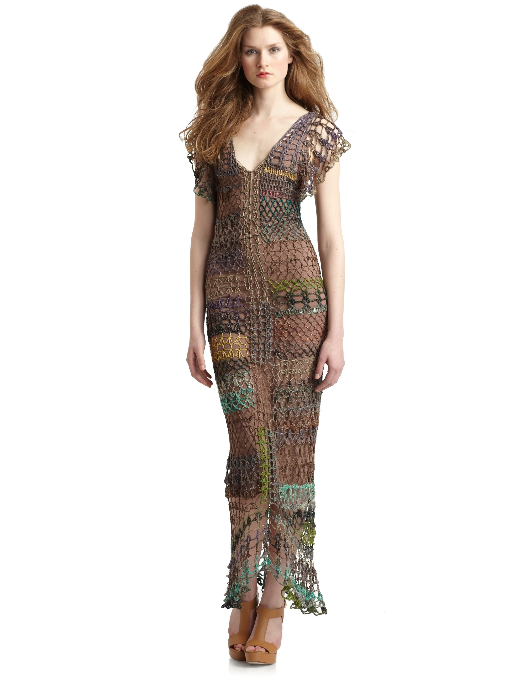 Free People Fools Gold Crochet Maxi Dress in Brown Lyst