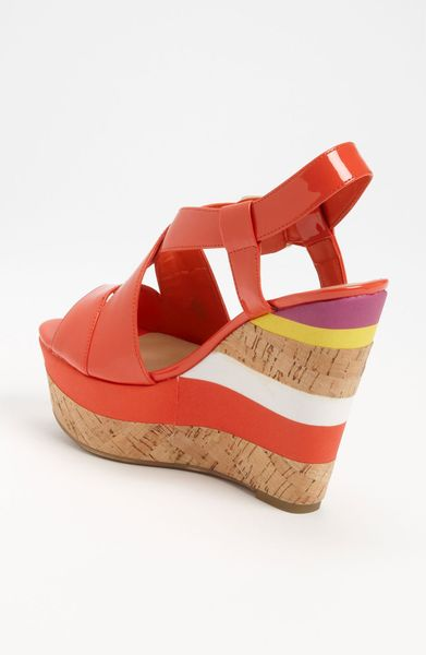 Guess Wedge Sandal In Orange Fresh Coral Lyst