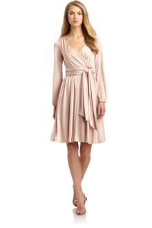 Halston Heritage Satin Tie Waist Dress - Lyst