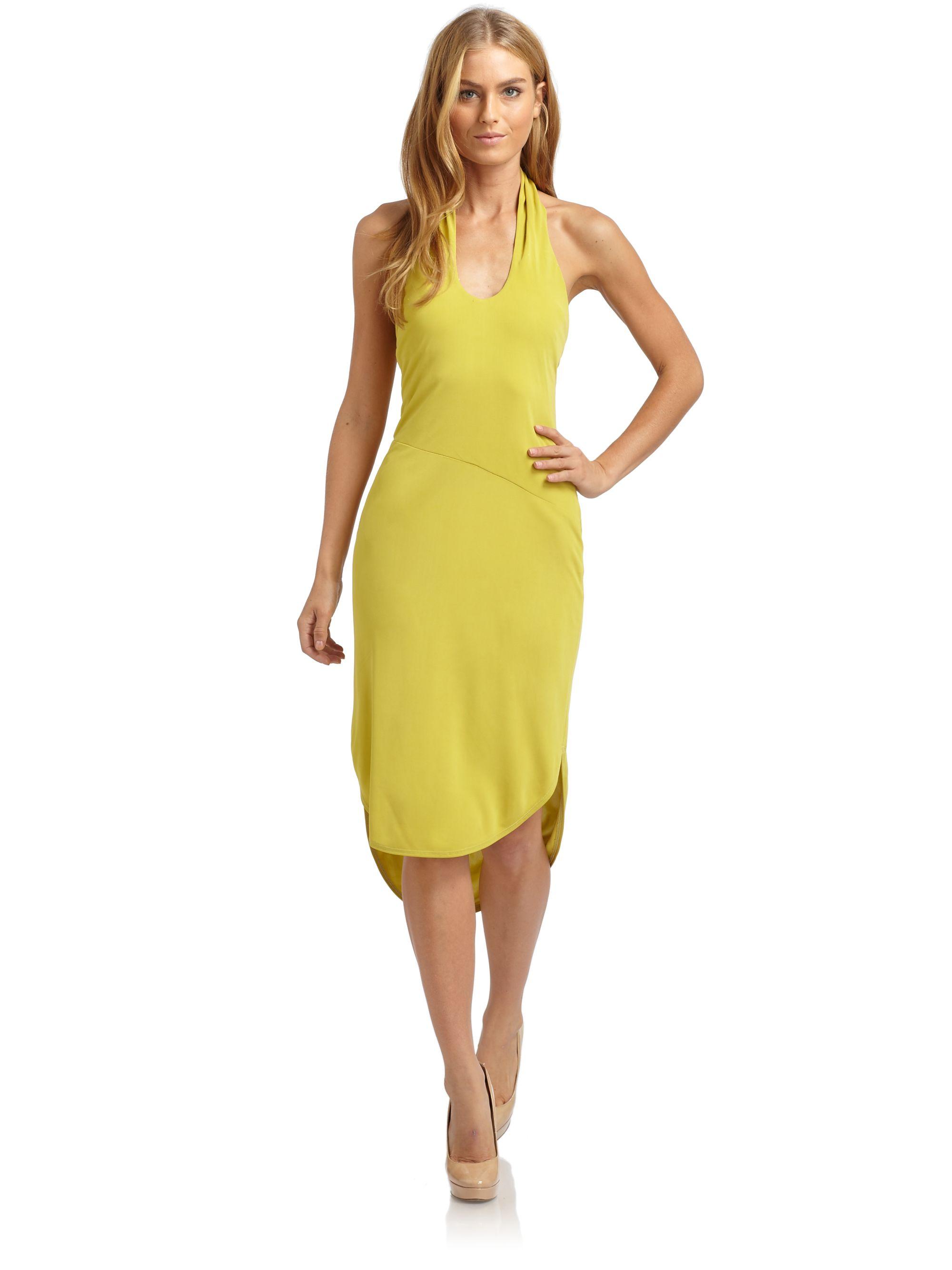 yellow halter dresses ... Kim Kardashian