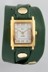 La Mer Collections Studded Wrap Rectangle Watch Green - Lyst