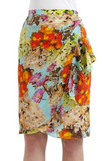 Lafayette 148 New York Silk Chiffon Floral Watercolor Ruffle Detail Skirt - Lyst