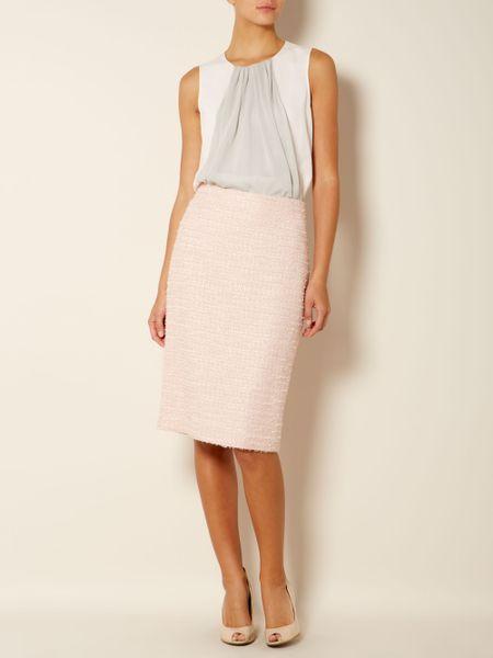 max mara studio renier boucle pencil skirt in pink pastel
