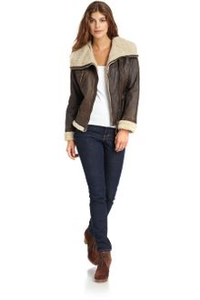 Michael by Michael Kors Leather Lined Asymmetric Jacket - Lyst