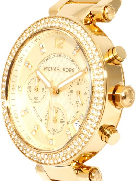 michael kors oversized gold crystal chronograph watch in. Black Bedroom Furniture Sets. Home Design Ideas