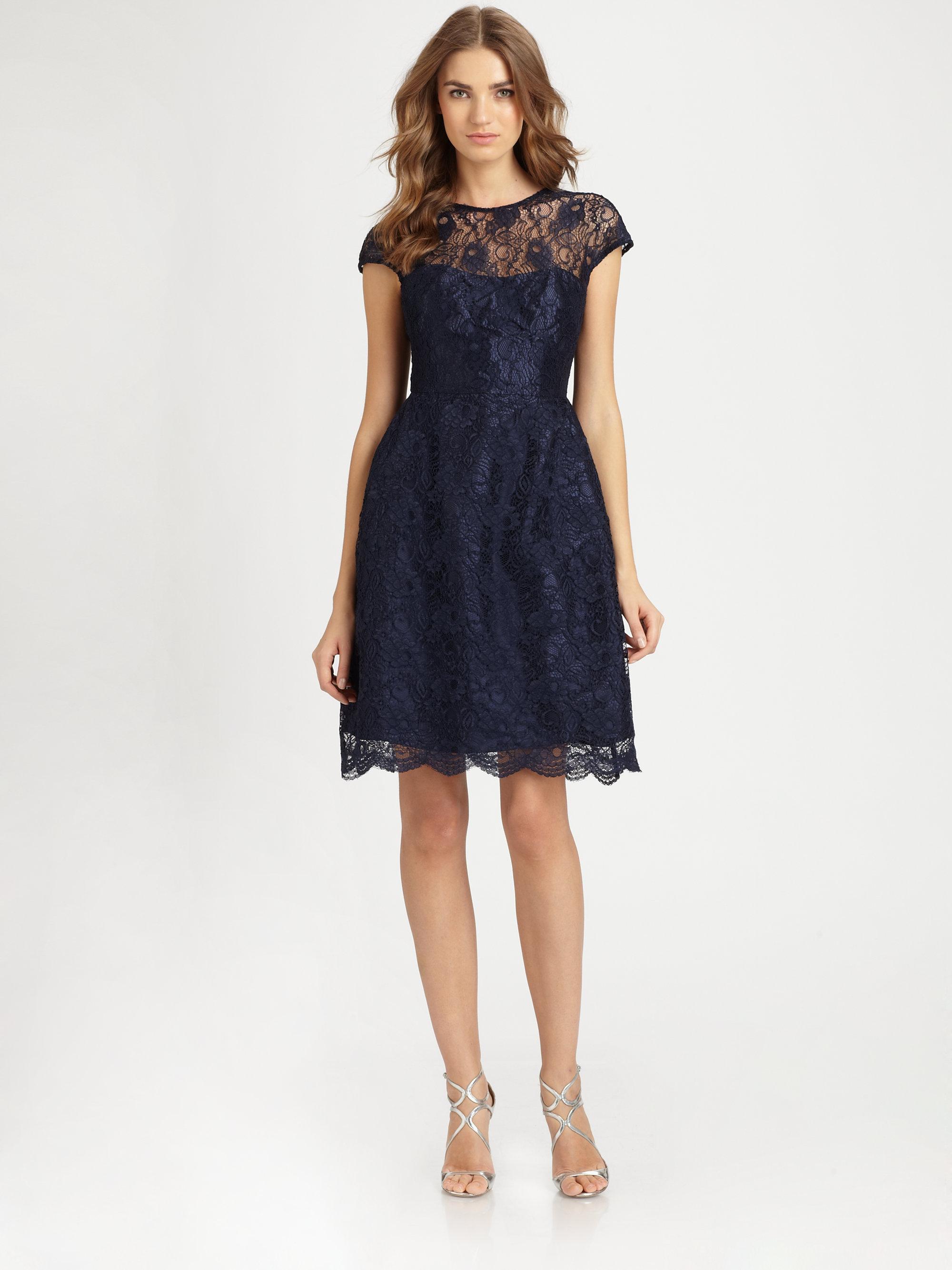 7354433c32c ML Monique Lhuillier Lace Dress in Blue - Lyst