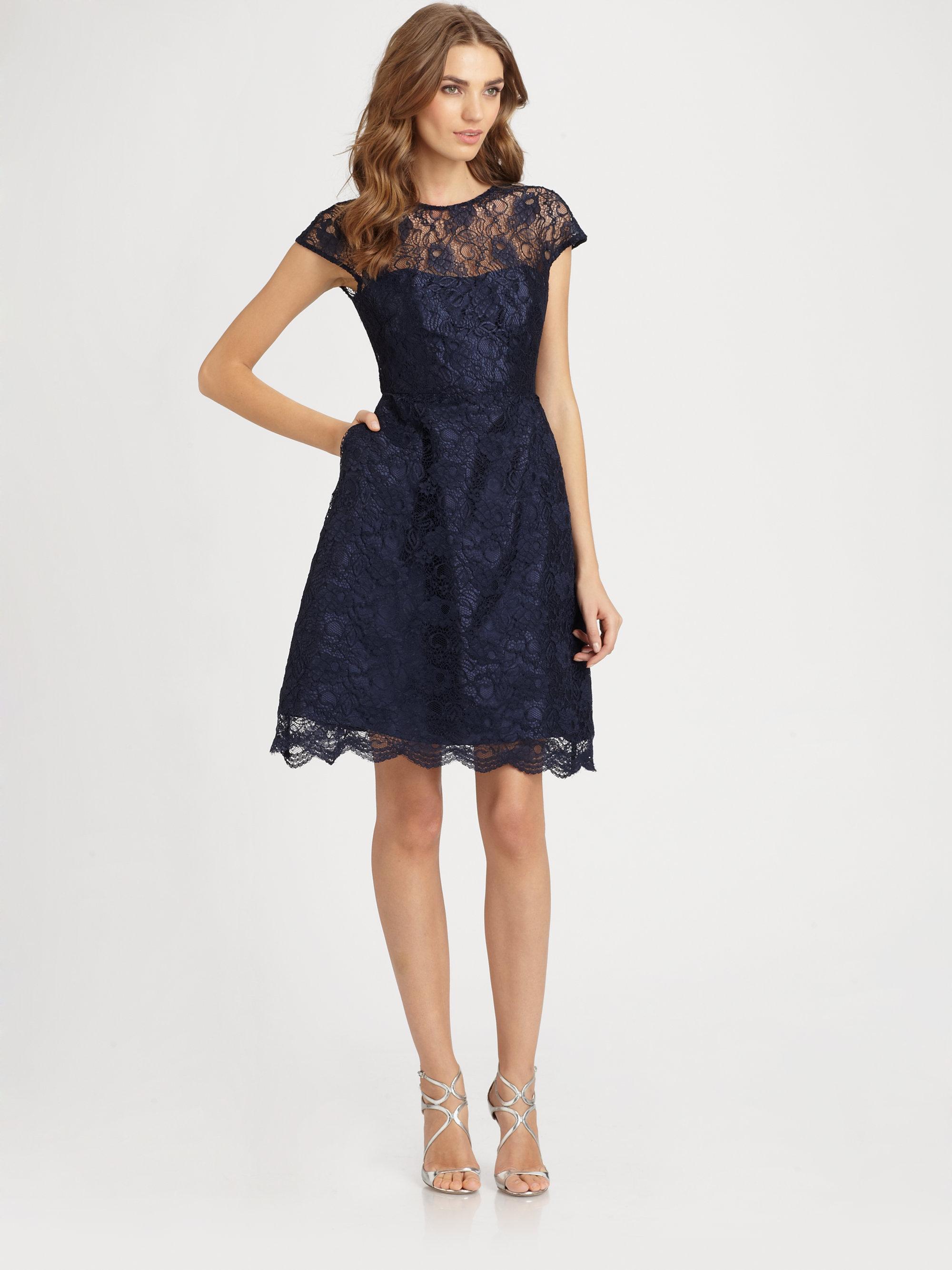 lyst ml monique lhuillier lace dress in blue