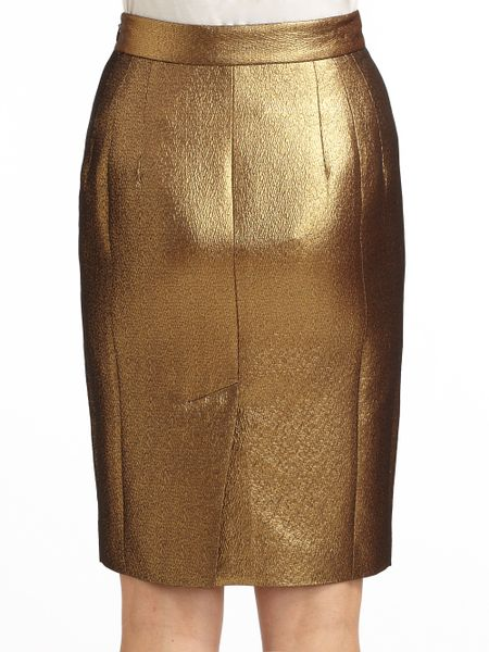 moschino cheap chic woven metallic pencil skirt in gold
