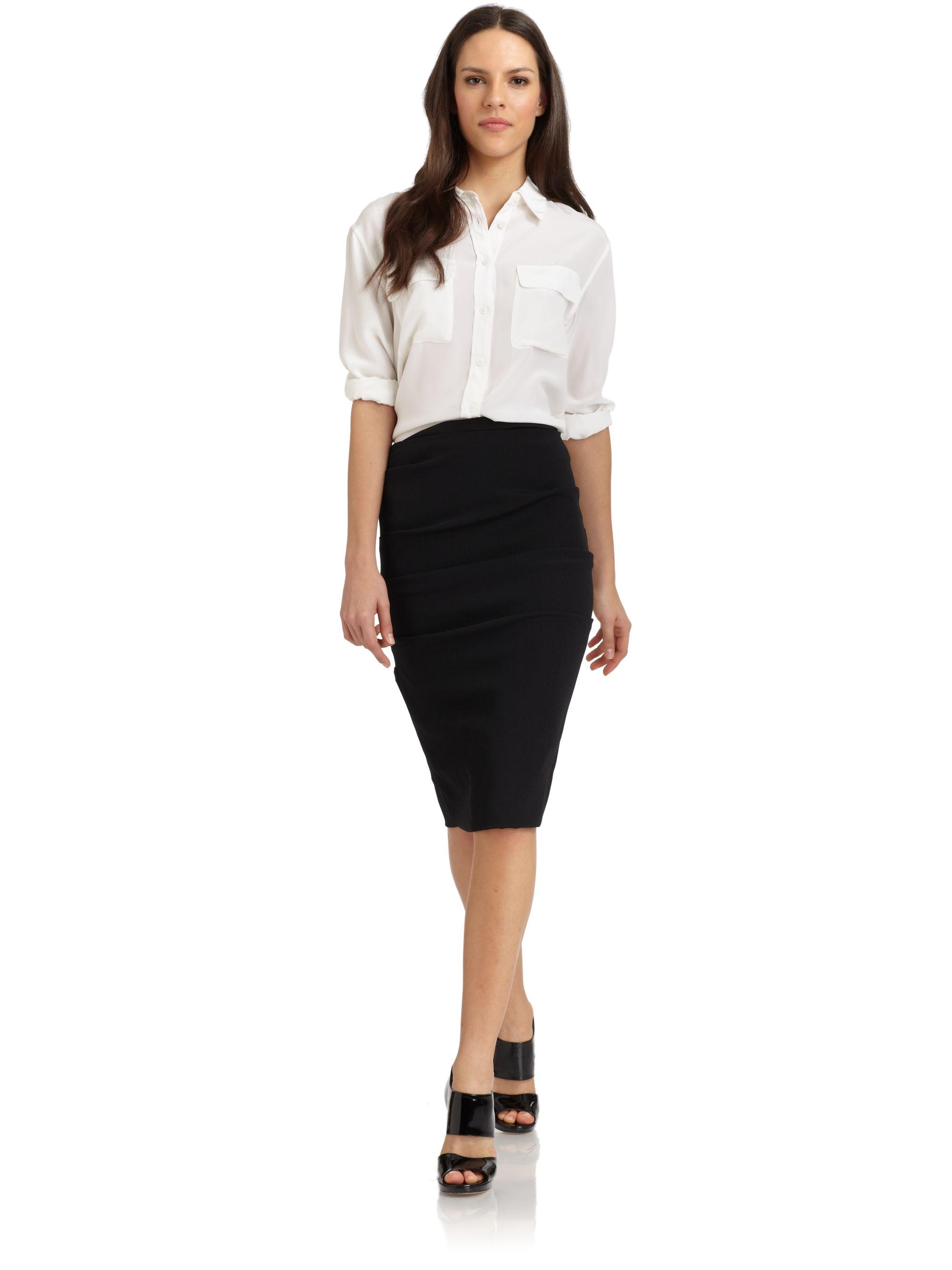 miller tucked pencil skirt in black lyst
