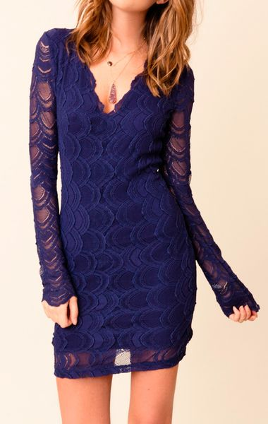 Nightcap Long Sleeve Victorian Lace Dress In Blue Lyst