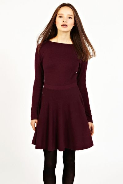Oasis Long Sleeved Fit And Flare Dress In Brown Burgundy