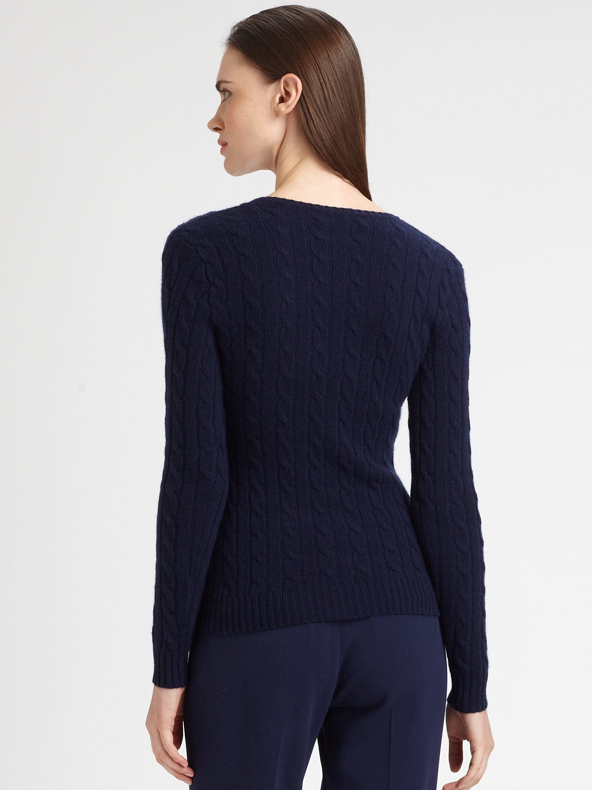 Ralph lauren black label Cashmere Cableknit Vneck Sweater in Blue ...