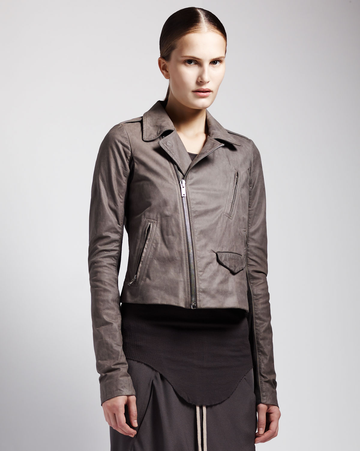 Rick Owens Womens Leather Biker Jacket in Gray (KOOL AID) | Lyst