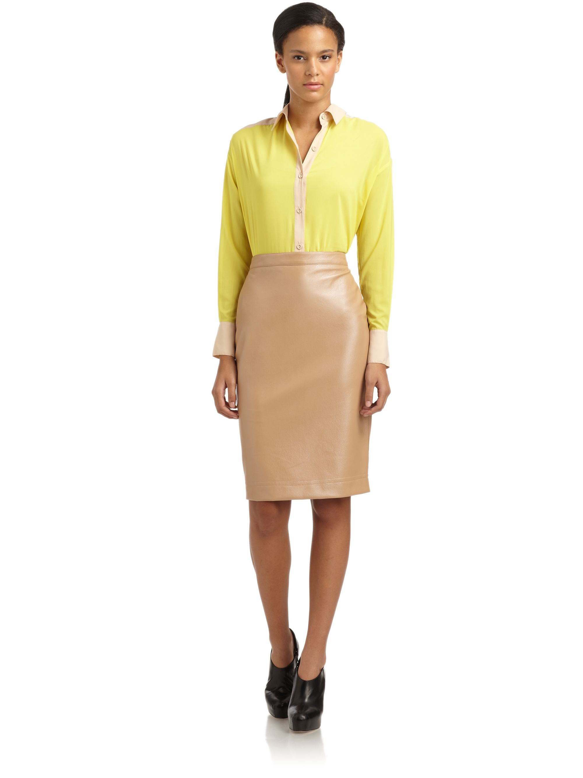 robert rodriguez faux leather pencil skirt in pink lyst