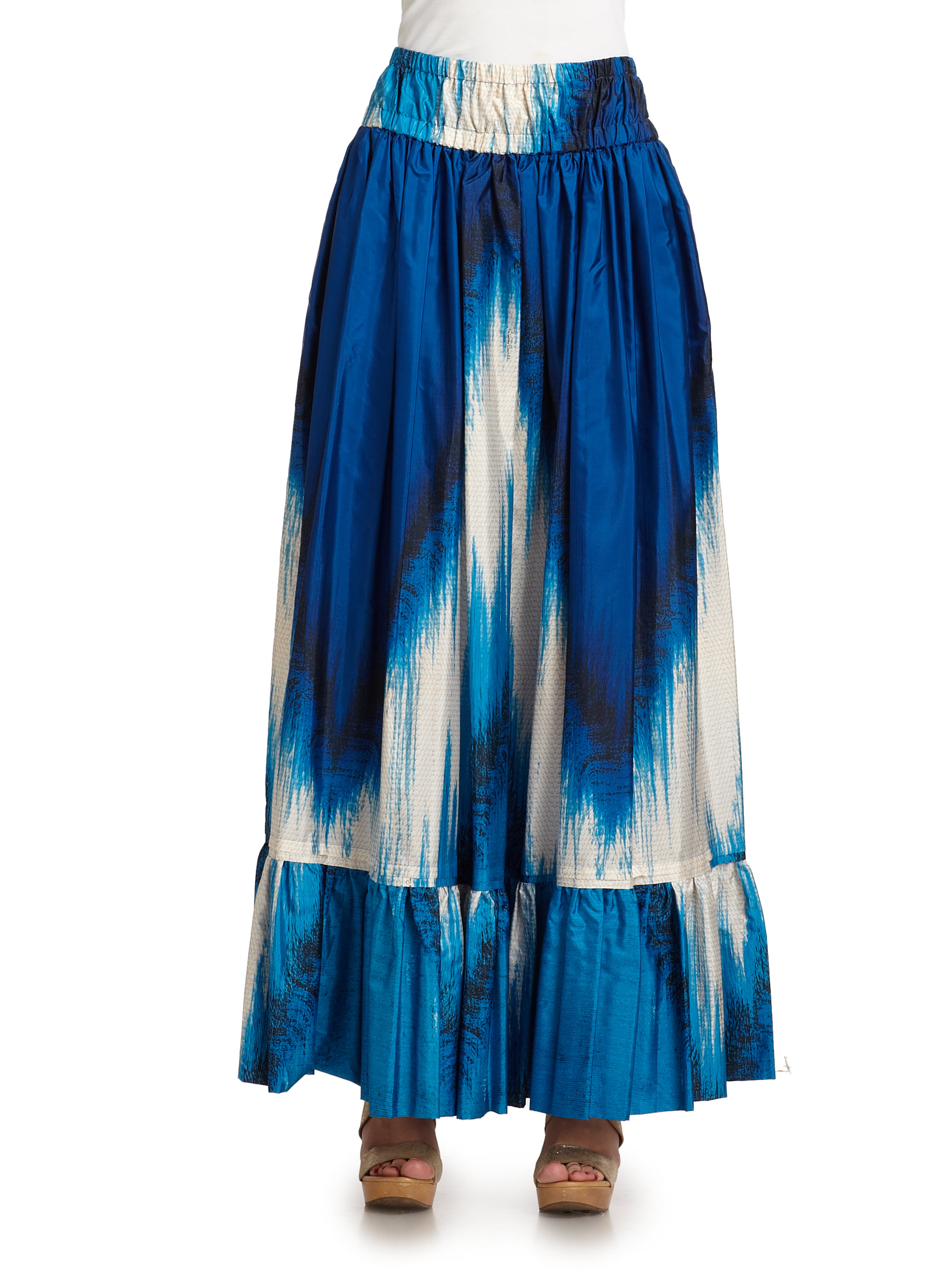 roberto cavalli silk abstract maxi skirt in blue lyst