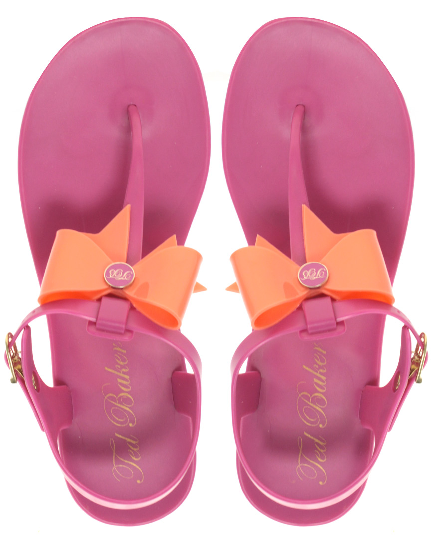 Lyst Ted Baker Aster Flat Sandal With Bow In Pink