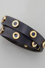 Tory Burch Cole Logo Studded Leather Wrap Bracelet - Lyst