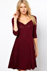 Asos Skater Dress in Spot with Sweethart Neck