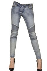 Balmain Stretch Cotton Denim Biker Jeans - Lyst
