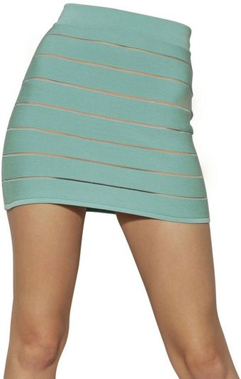 Balmain Striped Viscose Skirt - Lyst