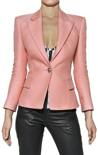 Balmain Cotton and Silk Piqué Jacket - Lyst