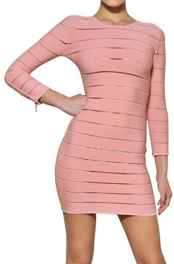 Balmain Striped Viscose Dress - Lyst