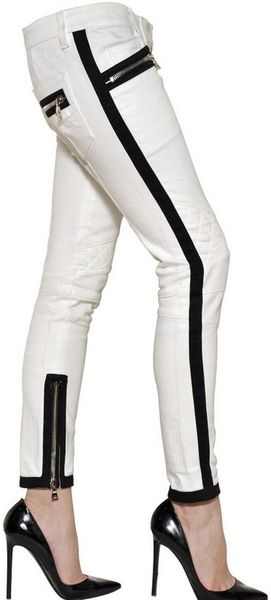 Balmain Stretch Cotton Denim Jeans - Lyst