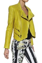 Balmain Nappa Leather Biker Jacket in Yellow - Lyst