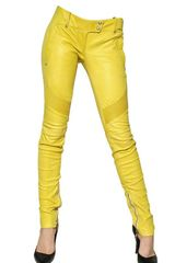 Balmain Nappa Leather Biker Jeans - Lyst