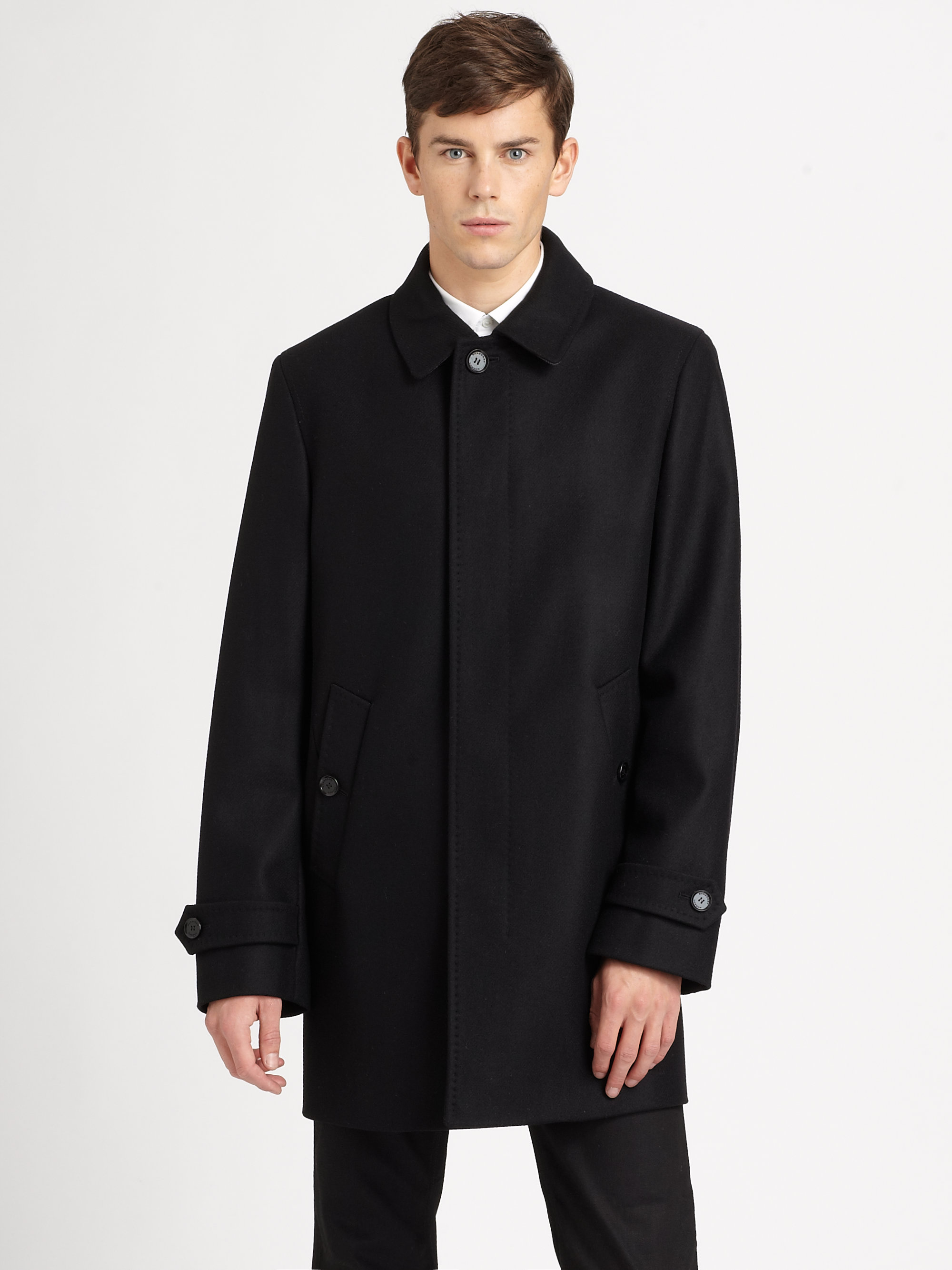 Burberry Carlson Car Coat In Black For Men Lyst