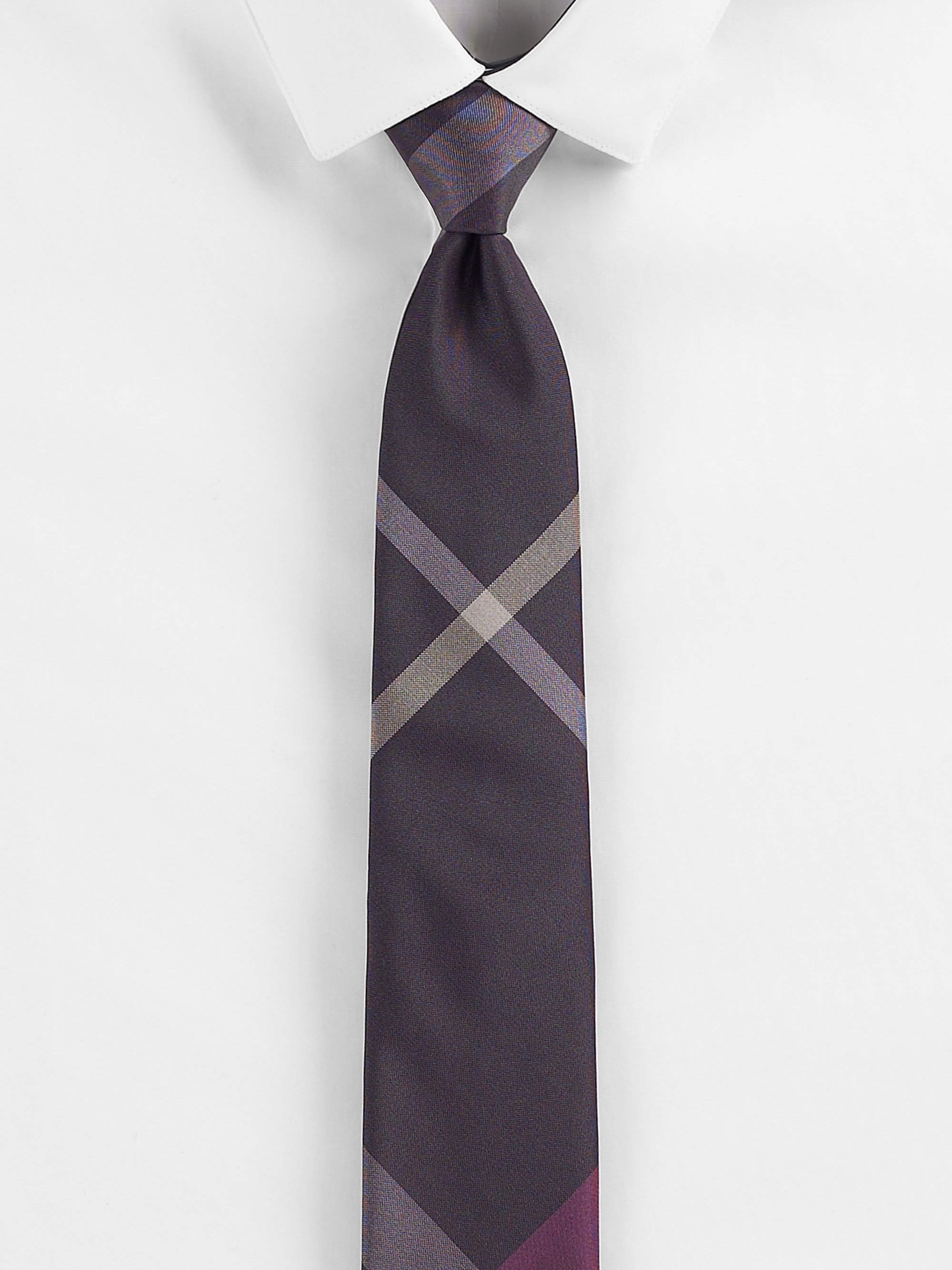 burberry check print silk tie in gray for lyst