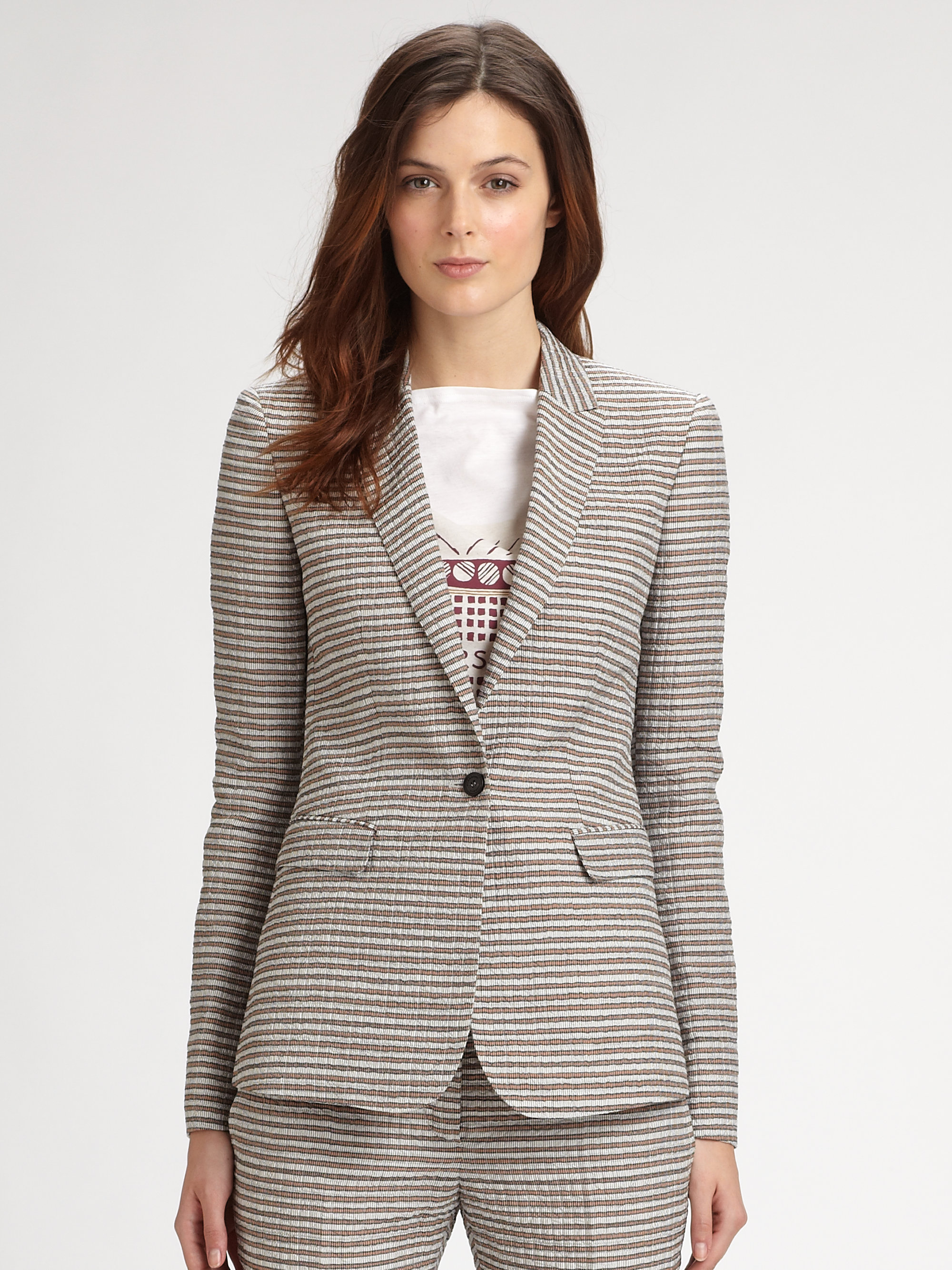 lyst burberry prorsum seersucker jacket in gray. Black Bedroom Furniture Sets. Home Design Ideas