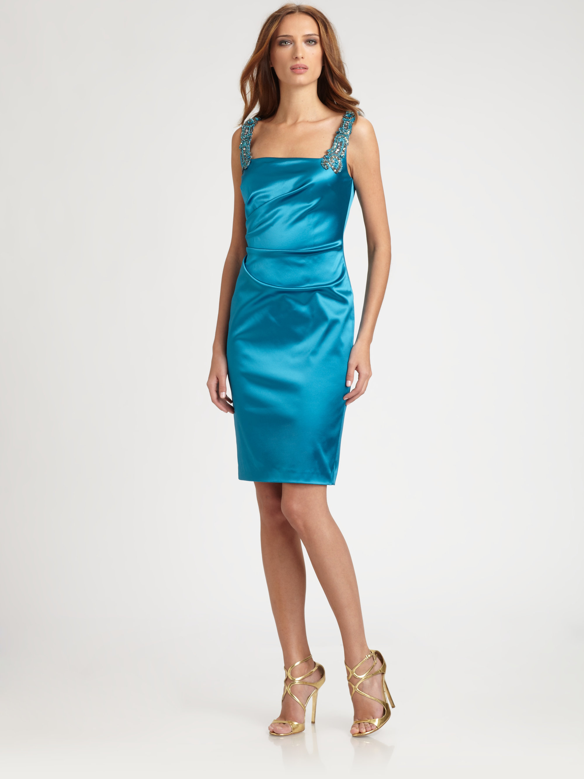 David Meister Satin Dress In Blue Lyst