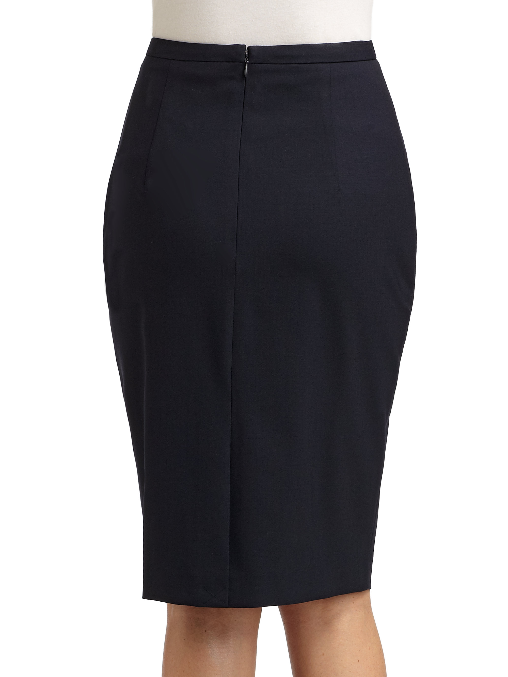 elie tahari blythe pencil skirt in blue navy lyst